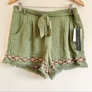 My Michelle Embroidered Tie Front Shorts